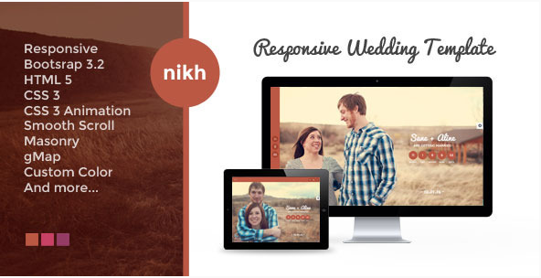NIKH - Responsive HTML Wedding Template