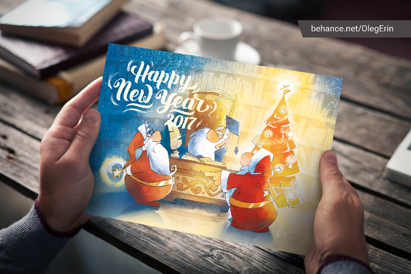 New-Year-Christmas-Postcard-Illustration