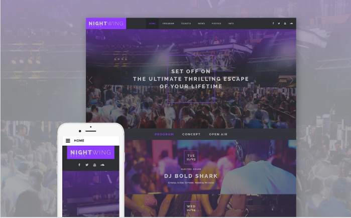 Night Club Responsive Website Template