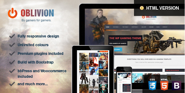 Oblivion - Gaming HTML Website Templates