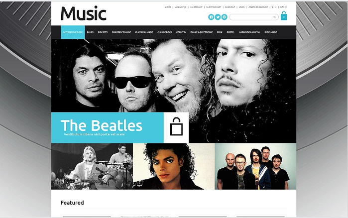 Online Music Sales OpenCart Template