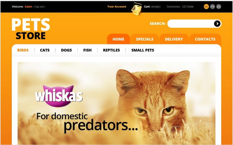Orange Pets Store PrestaShop Theme