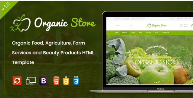 Organic Store - Organic Food, Agriculture, Farm Services and Beauty Products HTML Template