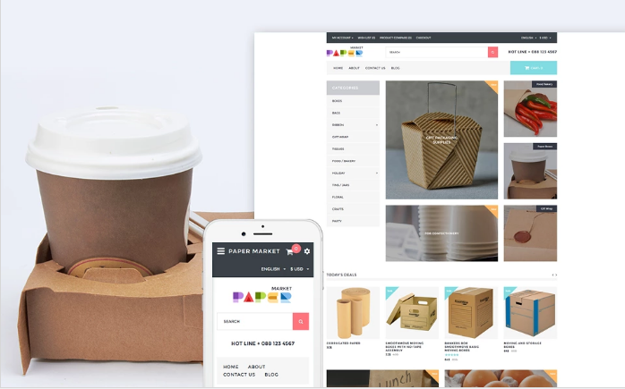 Paper Market - Packaging Responsive OpenCart Template