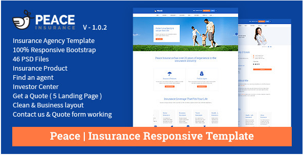 Peace – Insurance Responsive HTML Template.