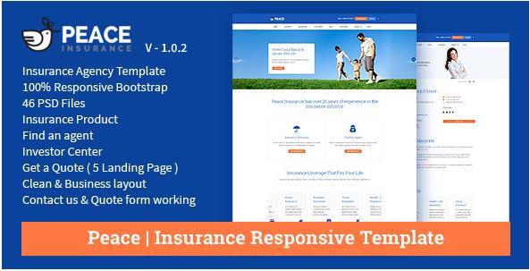 Peace – Insurance Responsive HTML Template.