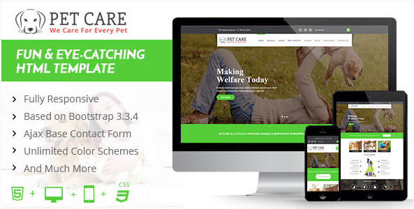 PetCare - One Page HTML5 Template