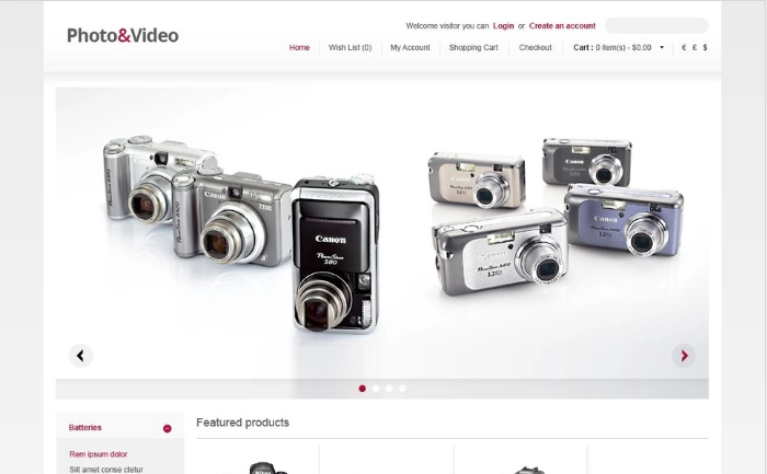 Photo & Video Store OpenCart Template