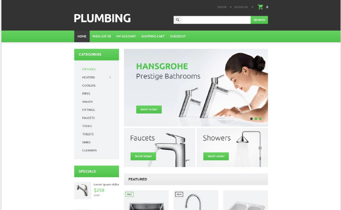 Plumber's Tool Case OpenCart Template
