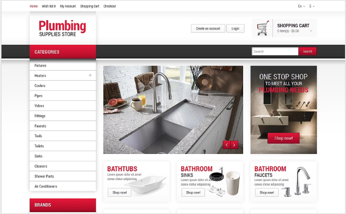 Plumbing Responsive OpenCart Template
