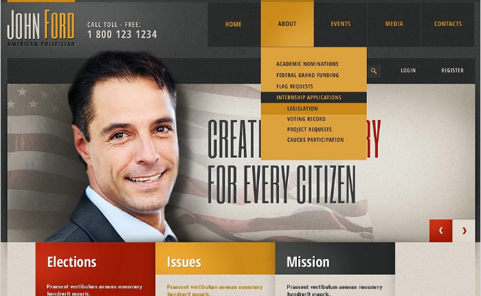 Political Candidate Responsive Website Template
