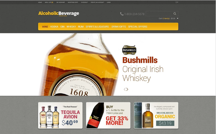 Quality Alcohol OpenCart Template