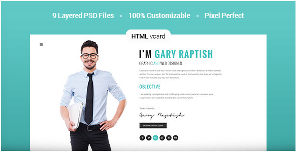 Raptish - Premium vCard Resume HTML Template