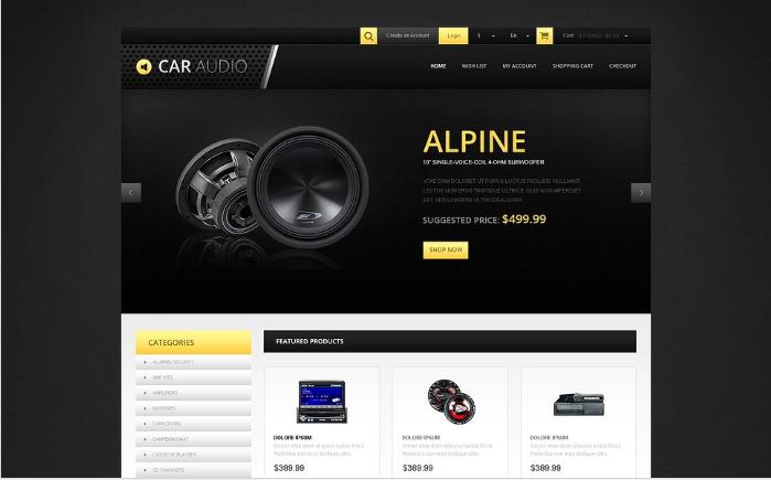 Responsive Car Audio Store OpenCart Template