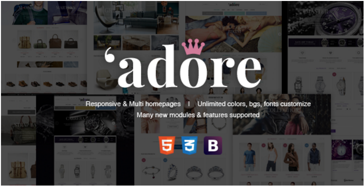 Responsive Fashion Magento Theme - Jewelry Watches Bags & Shoes - Adore