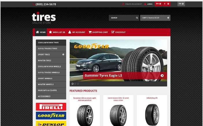 Responsive Tires Store OpenCart Template