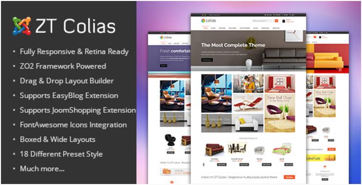 Responsive e-commerce joomla template ZT Colias