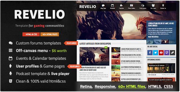 Revelio - The Gaming Template HTML