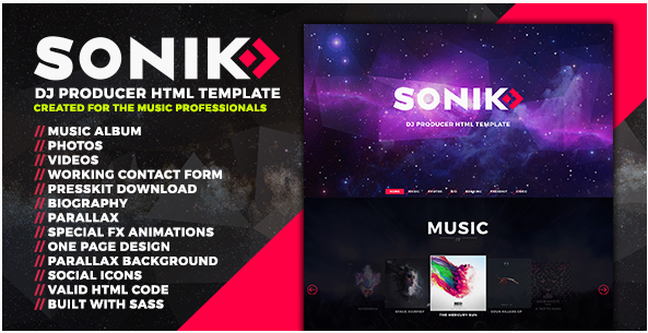 SONIK Professional One Page Music DJ Producer Responsive HTML Template