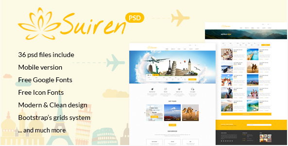 SUIREN Travel Tour and Booking Agency HTML Template
