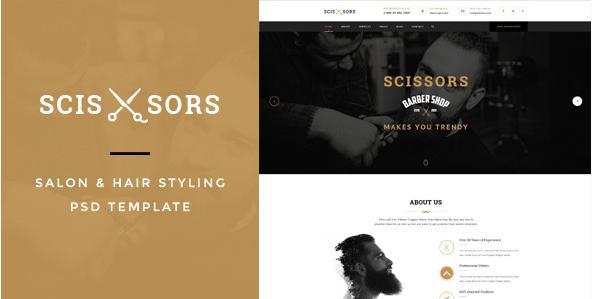 Scissors Salon & Hair Styling PSD Template