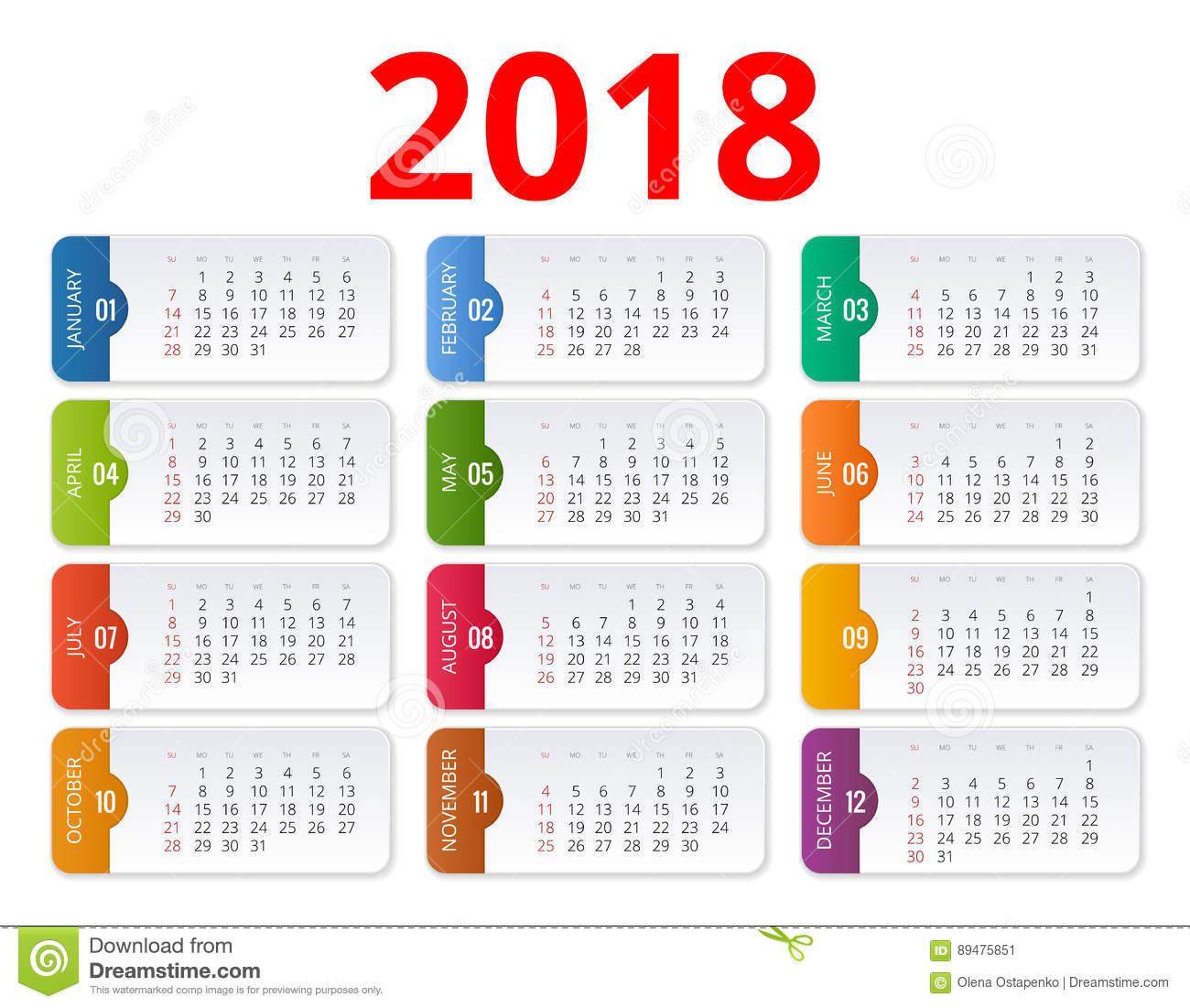Set of 2018 Calendars