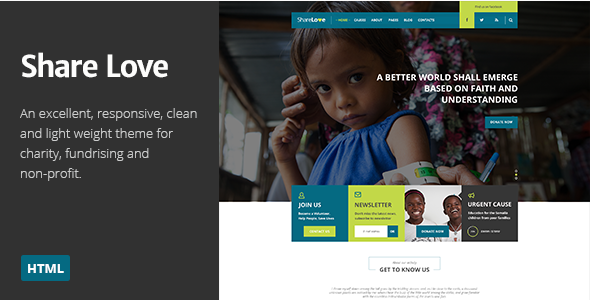 ShareLove Charity Non-Profit Parallax HTML Theme