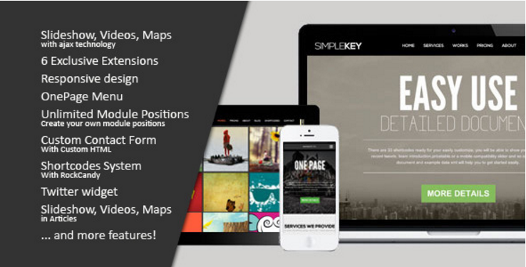 SimpleKey One Page Portfolio Joomla Template