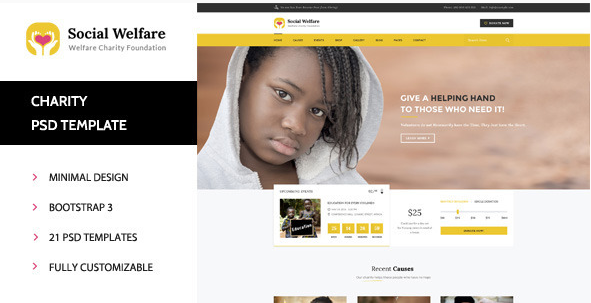 Social Welfare - Charity & Non-Profit PSD Template