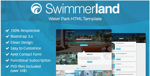 Swimmerland - Water Park HTML Template