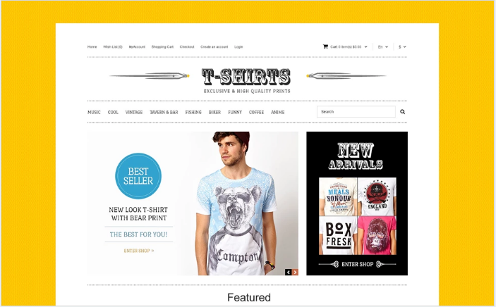 TShirts with Uncommon Prints OpenCart Template