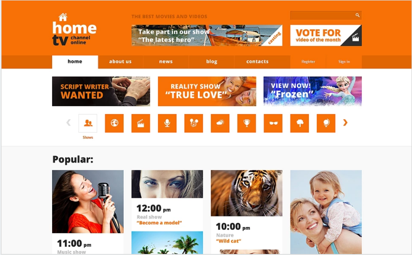 Tv channel website templates from themeforest.