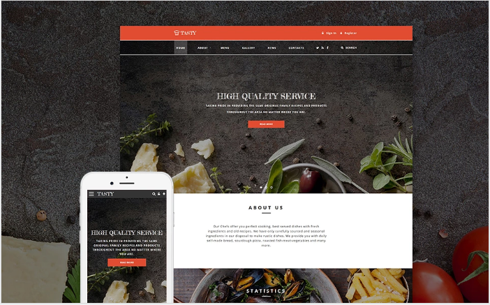 Tasty - Cafe and Restaurant Website Template