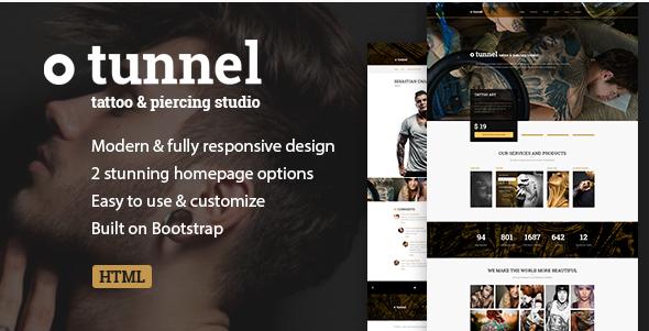 Tattoo, Piercing Modern Studio Artist HTML Template - Tunnel