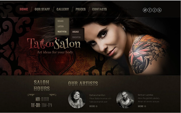 Tattoo Salon Responsive Website Template