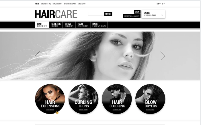 Tender Care for Your Hair OpenCart Template