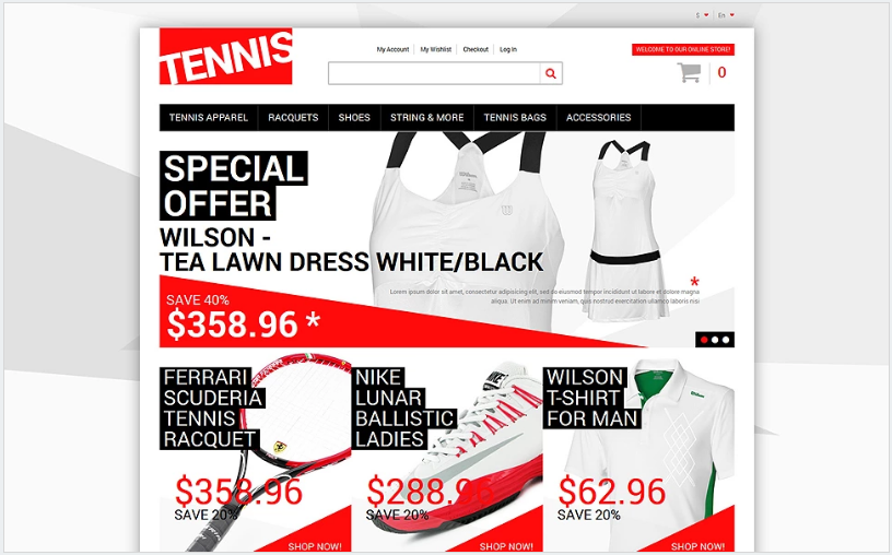 Tennis Dress Supplies Magento Theme