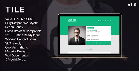 Tile - Resume CV vCard Portfolio HTML Template