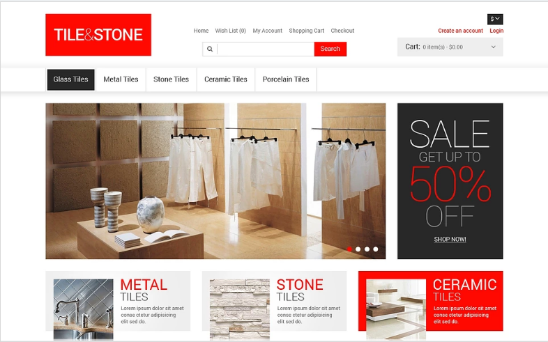 Tile & Stone OpenCart Template
