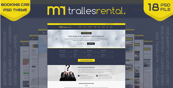 Tralles - Car Rental, Sell and Booking PSD Template