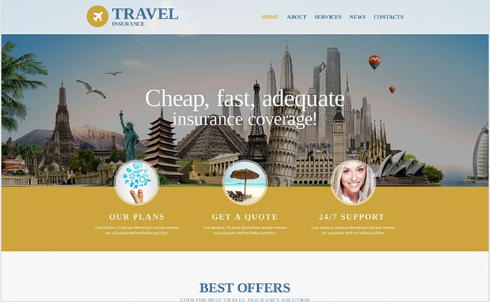 Travel Insurance Agency Website Template