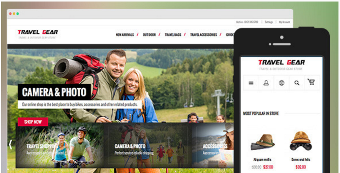 TravelGear-Responsive Magento theme for gear store