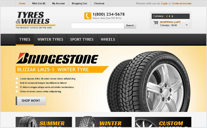 Tyres & Wheels OpenCart Template