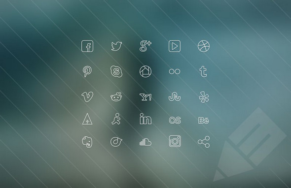 Ultra-thin-Social-Icons-set