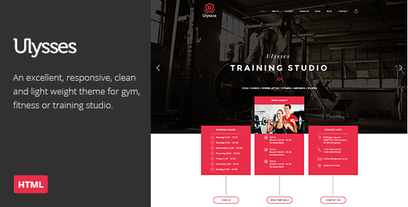 Ulysses Gym Fitness HTML Theme