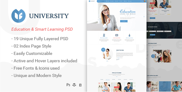 University - Education & Smart Learning Bootstrap PSD Template