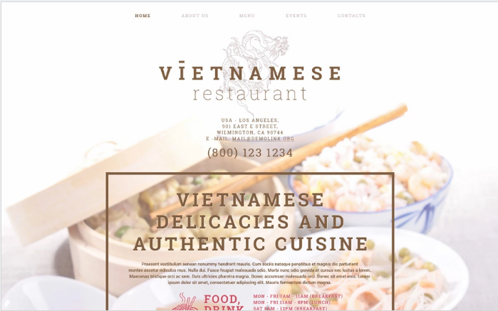Vietnamese Restaurant Website Template