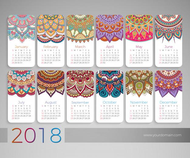 Vintage Calendar Design 2018