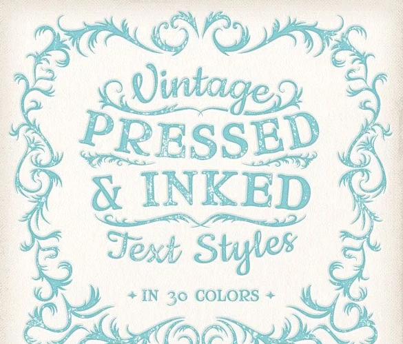 Vintage Pressed & Inked Text Styles