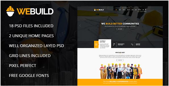 WEBUILD – Construction & Building PSD Template